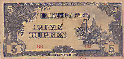 BURMA: 5 Rupees, P-15b. Japanese Occupation note - WWII. Block letters: BB.