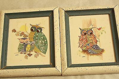 Vintage Baby Owl Art Set Framed Painting Prints watercolor mother nursery