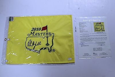 Phil Mickelson Signed Masters Pin Flag 2010 JSA Full Letter Authenticated LOA