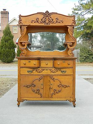 Fancy Carved Tiger Oak Buffet Sideboard with Mirror and shelf circa 1900