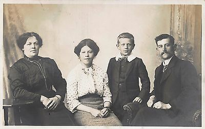 Vintage REAL PHOTO Postcard Family Portrait Photograph by Fred Ash Photographer