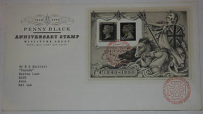 1990 Penny Black Anniversary Minisheet Royal Mail First Day Cover Bureau