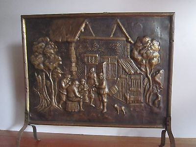 Antique brass and copper fire screen or guard