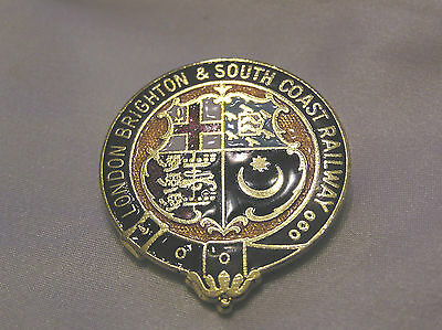 LONDON BRIGHTON and SOUTH COAST RAILWAY METAL and ENAMEL BADGE