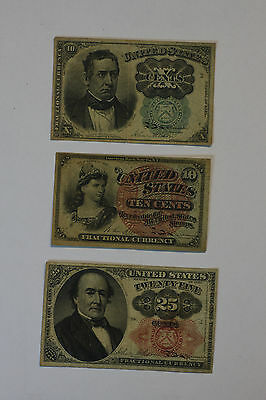(3 Fractional Currency Lot) 1863 and 1874 - 10 cents, 1874 - 25 cents