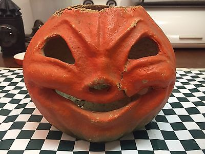 Early Paper Mache Pumpkin Lantern, Halloween, So Cool And Starting Bid Of 9.99