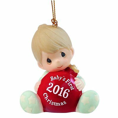 Baby's First Christmas 2016 Precious Moments Ornament Porcelain Family Love Boy