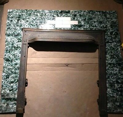 COMPLETE SET VINTAGE VICTORIAN ANTIQUE FIREPLACE TILE  TILES MANTLE Green White