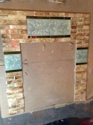 COMPLETE SET VINTAGE VICTORIAN ANTIQUE FIREPLACE TILE  MANTLE TILES Majolica AET