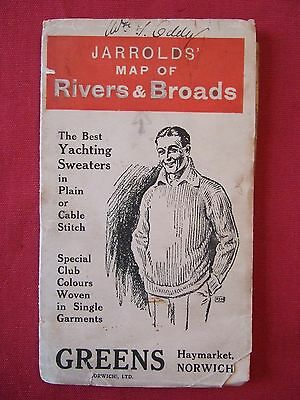 """Jarrolds'Map of Rivers and Broads (Norfolk Broads). 1""""=1mile. Linen mounted."""