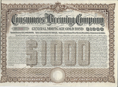 1903 CONSUMERS BREWING COMPANY GOLD BOND w/Coupons Pennsylvania Pays Cancer bill