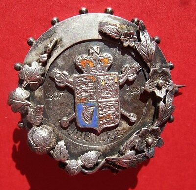 Silver brooch commemorating Queen Victoria's diamond jubilee in 1897, hallmarked