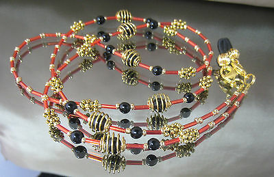 SPECTACLE/SUNGLASSES/EYEWEAR HANDCRAFTED CHAIN – Gold, Red & Black (S361)