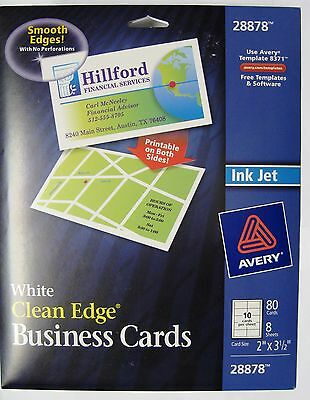New Sealed Avery 28878 White Clean Edge Business Cards Ink Jet 80 Count
