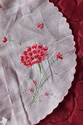 """Delicate Vintage Swiss Hand Embroidered Carnation & Ladybugs 10"""" Linen Round"""