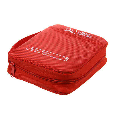 H1 Zipper Closure 32pcs CD Discs Square Design Storage Holder Case Red T6B3