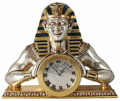 Temple of Heliopolis Ancient Egyptian Pharaoh Mantle Clock Hand Painted Statue