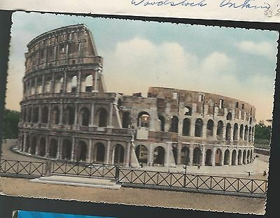 POSTCARD ITALY, ROME COLISEUM MAILED 1950s MAILED TO MONT ROLLAND, QUEBEC,CANADA