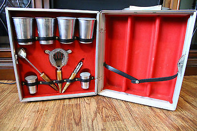Vintage Imperial Bar Travel Case Felt Lined Includes Tools and Cups Portable