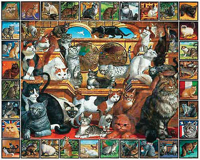 "Jigsaw Puzzle Lovable Pets 1000 Pieces 24""X30"" The World Of Cats WM135"