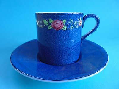 WEDGWOOD MAJOLICA CUP AND SAUCER COFFEE DUO WITH PINK ROSES LIKE NEW c1930