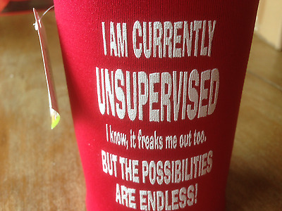 "FUNNY Stubby Holder ""I'M CURRENTLY UNSUPERVISED"""