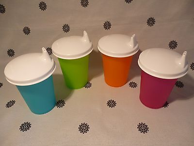 Tupperware 227ml Sippy Cup Set of 4 Bell Tumblers Pink Blue Green Orange New!