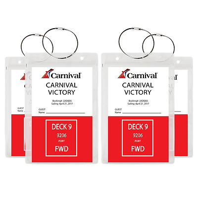 (4 PACK) - HEAVY DUTY Cruise Luggage Tag Holders, Document Holders **US SELLER**
