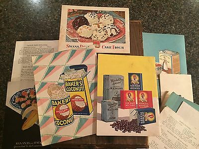 Vintage 1920's-30's Cook Books & Advertising Recipe Books plus wooden candy box