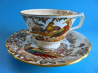 Vintage Royal Crown Derby Old Avebury Duo Tea Cup Saucer Asiatic Pheasant