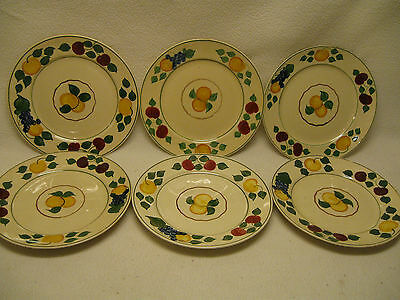 "Adams Royal Ivory Titian Ware Pattern 1346b (6) 8"" Salad Plates Fruit 1921-"