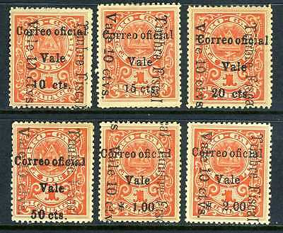 Nicaragua 1911 Railroad Surcharges Maxwell O228-233 Mint C410