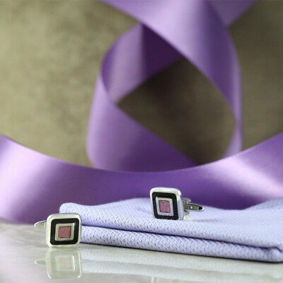 Elegant Black and Pink Inset Square Cuff Links
