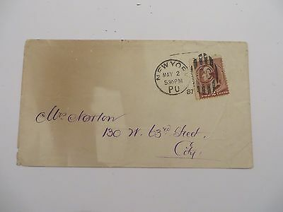 U.S. Two Cent Envelope Cover New York May 2 1887