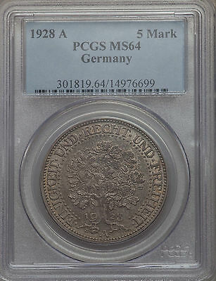 Germany Weimar Republic 1928 A 5 Mark - PCGS MS64 UNC Coin