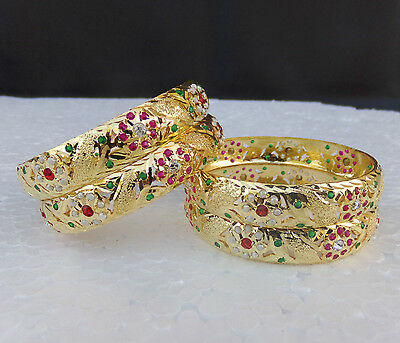 South Indian Jewelry Ethnic Bracelet Bollywood 22k Gold Plated Bangles Set