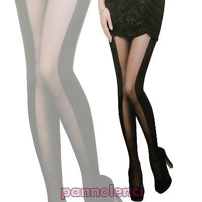 Tights Pantyhose Woman Bands Side Centre Sheer Sexy Lingerie New 8626-mod