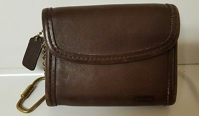 Vintage Coach Small Brown Envelope Style Zipper Change Purse/Wallet