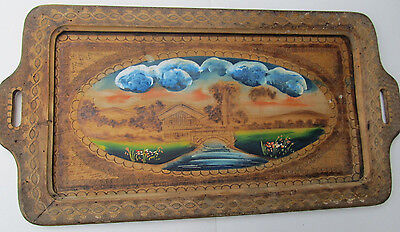 Antique Vintage Wooden Hand Carved Wood Serving Tray Hand Painted