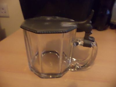 Old Antique Clear Cut Lead Crystal Glass Pewter Lid Drinking Tankard Stein F&mn