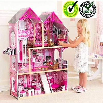 Birthday Gift KIDKRAFT Couture Girl Dollhouse Play+14 Pieces Of Furniture 3+Year