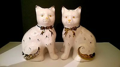 A Pair Of Antique Staffordshire Pottery Large Sitting Cats