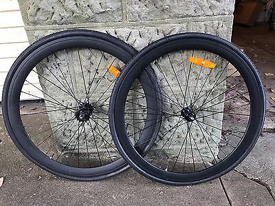 700C 45mm Matte Black Fixie/Single Speed Wheel Set With Tyres - Front And Back!