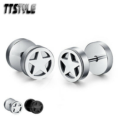 TTstyle Stainless Steel Star Screw Earrings Full Silver/Black A Pair NEW Arrival