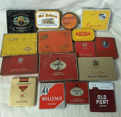 Lot of 16 Cigarette Tobacco And Cigar Tins