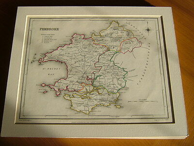 Antique Hand Coloured Map Of Pembroke From Lewis' Topographical Dictionary