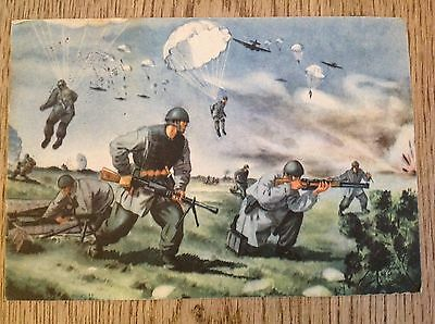 WWII WW2  Italian propaganda postcard soldier parachute military postmark letter