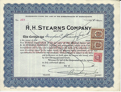 1938 R H STEARNS COMPANY Stock Certificate Boston MASSACHUSETTS Pays cancer bill