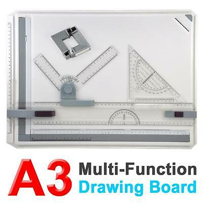 New Quality Office A3 Drawing Board Table Set With Magnetic Clamping Bar UK
