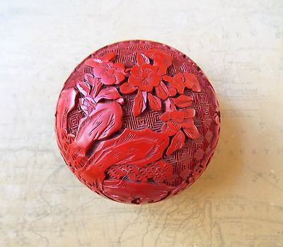 Vintage 1980s Chinese Hand Carved Red Cinnabar Round Covered Container
